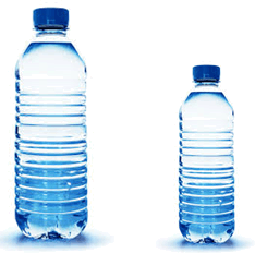 Two bottles of water – large and small.
