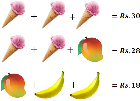 this image defines cost of ice-cream, mango and banana