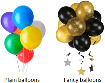 The image of plain and fancy balloons