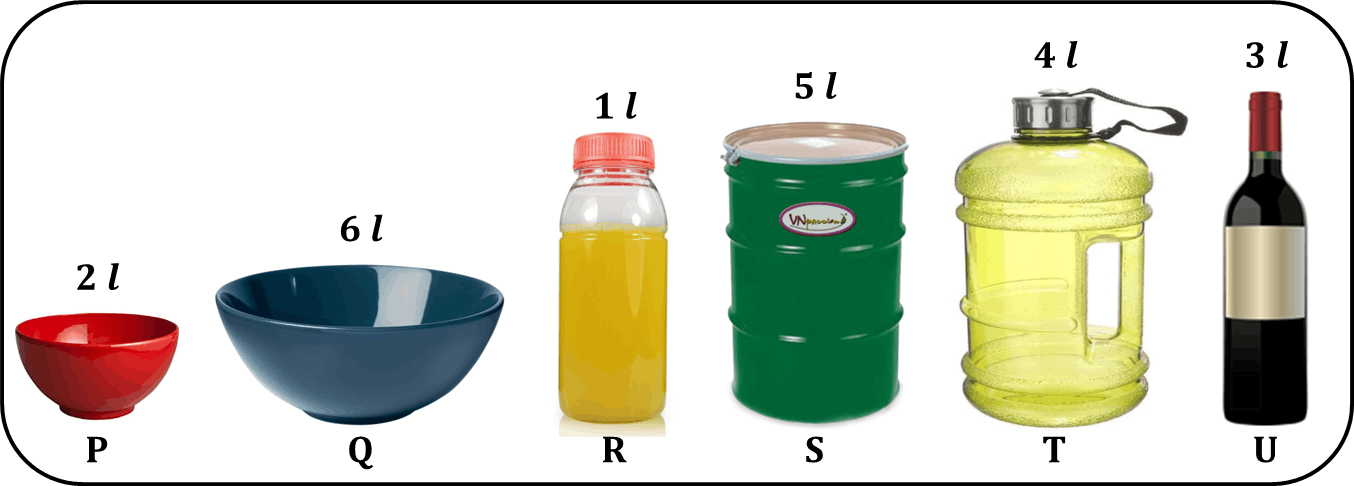 Image shows 6 containers for poured the oranges juice