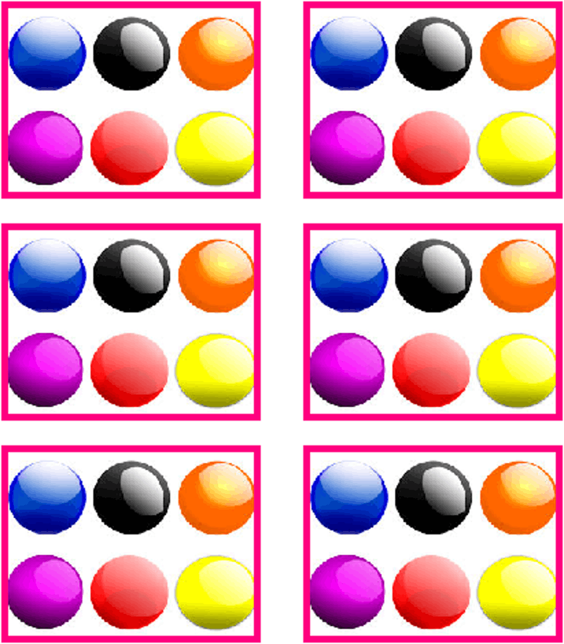 Multiple balls are in box, total 6 boxes