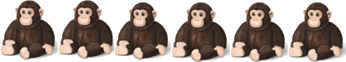 The image of the 6 toy monkeys
