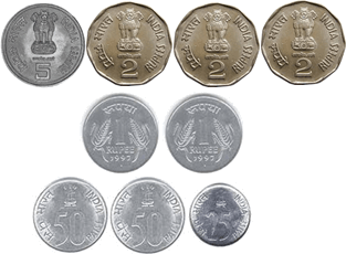 represents 5 rupee, 2 rupee, 1 rupee, 50 paise and 25paisecoins