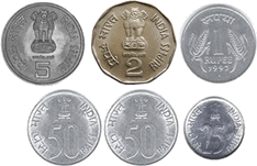 defines 5 rupee, 2 rupee, 1 rupee, 50 paise and 25 paise coins