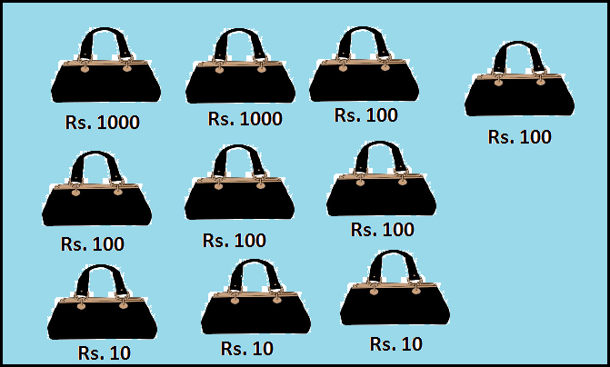 Multiple Purses are given – Find total amount