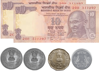 the 10 rupees notes and 5, 2, 1 and 50 paise coins – choice A