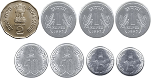 This figure defines 2 rupee, 1 rupee, 50 paise and25paise coins