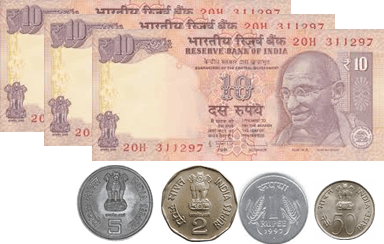 the 10 rupees notes and 5, 2, 1 and 50 paise coins – choice B