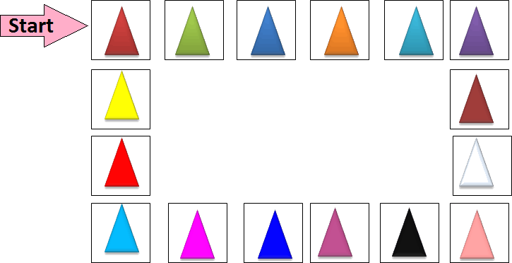 Colourful triangles are given – Find color at 15<sup>th</sup> place
