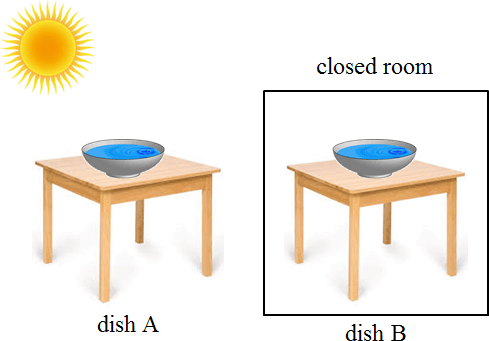 Image shown 2 dish A and dish B to poured equal amount of water