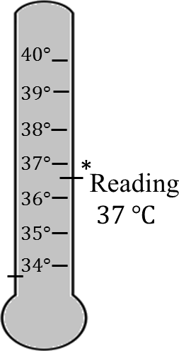 Image shows thermometer reading of body temperature – Choice B