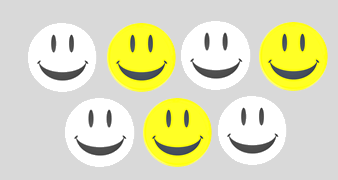 This figure shows the smiley shape with shaded and unshaded