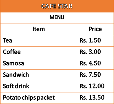 This table shows the menu of cafe star