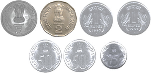 This image shows the seven different types of coins
