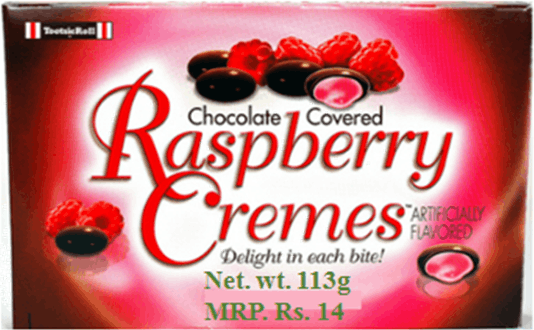 This image shows the raspberry chocolate packet wrapper