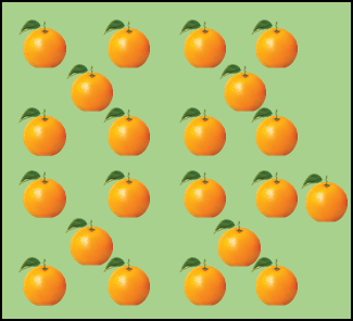 This image shows the some oranges are arranged in the manner