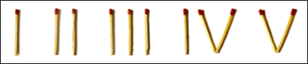 This image shows the Roman numerals with match sticks