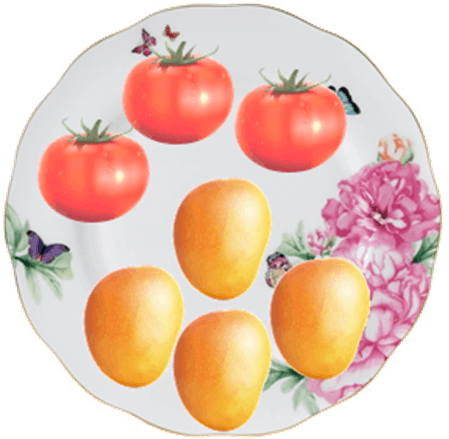This image shows the fruits on the plate