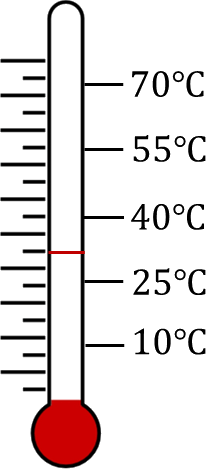 Thermometer reading while measuring human body temp. – Choice D