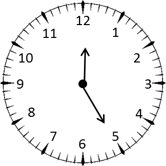 Clock shows the time 8 hours and 35 minutes – Choice C