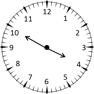 Clock shows the time 8 hours and 35 minutes – Choice A