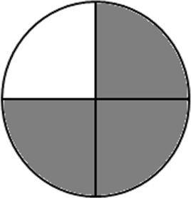Image shows the unshaded part represents the fraction –Choice A