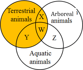 This diagram shows the Venn diagram of animals