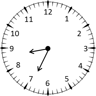 Clock shows the time 8 hours and 35 minutes – Choice D