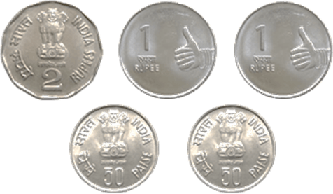 This image shows the five different coins