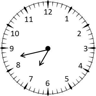 Clock shows the time 8 hours and 35 minutes – Choice B