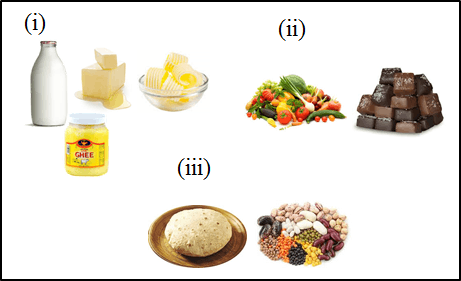This image shows the various types of foods