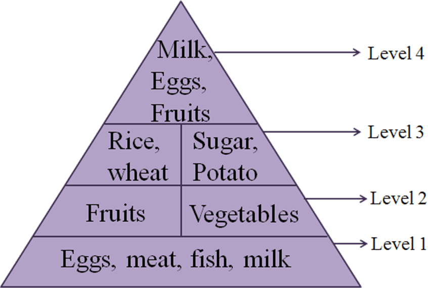 This diagram shows the food sources with level