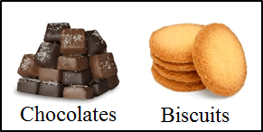 This image shows the chocolates and biscuits