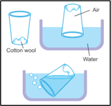 Diagram shows the one glass in cotton wool and water in bowl
