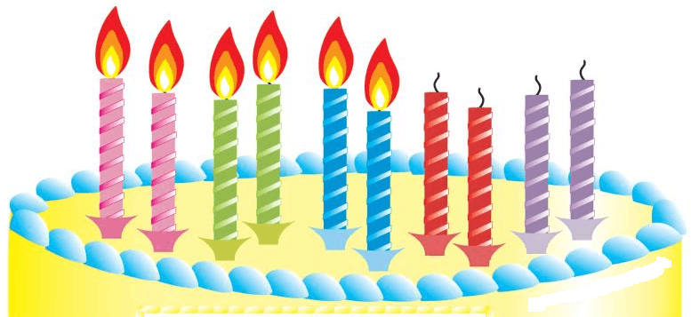 What fraction of the candles on the cake are lit?