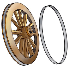 Figure showing wooden wheel and iron rim
