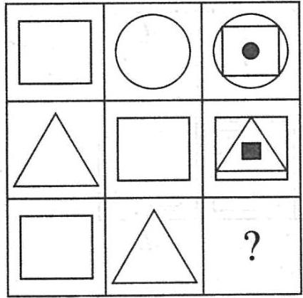 missing pattern in the shapes – Triangle, Circle and Square