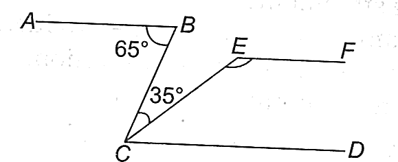 The angle made by two intersecting lines by using given angles.