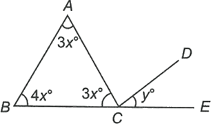 A triangle and other line-making angle with base of triangle