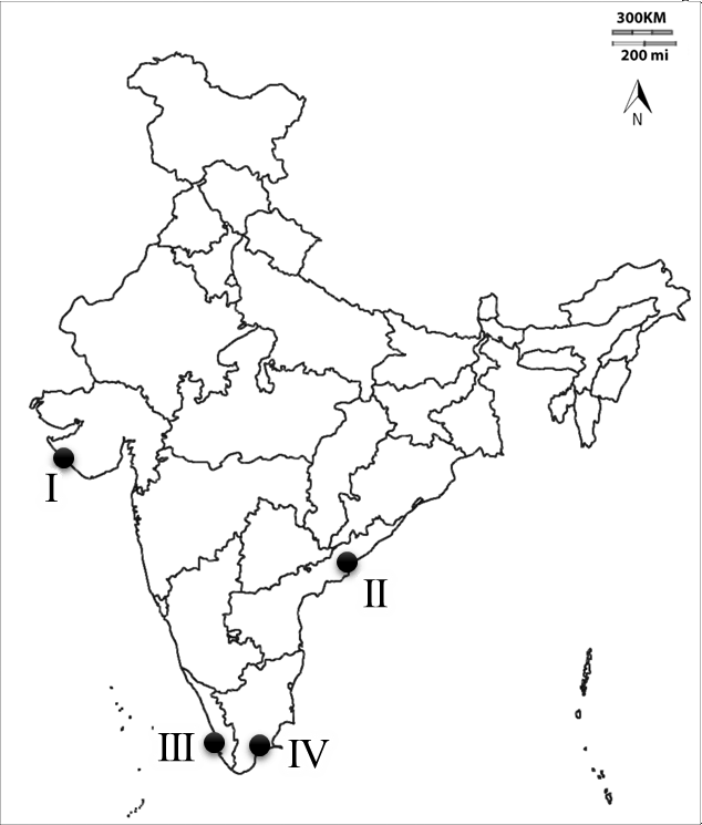 Location of fishing ports in map of India