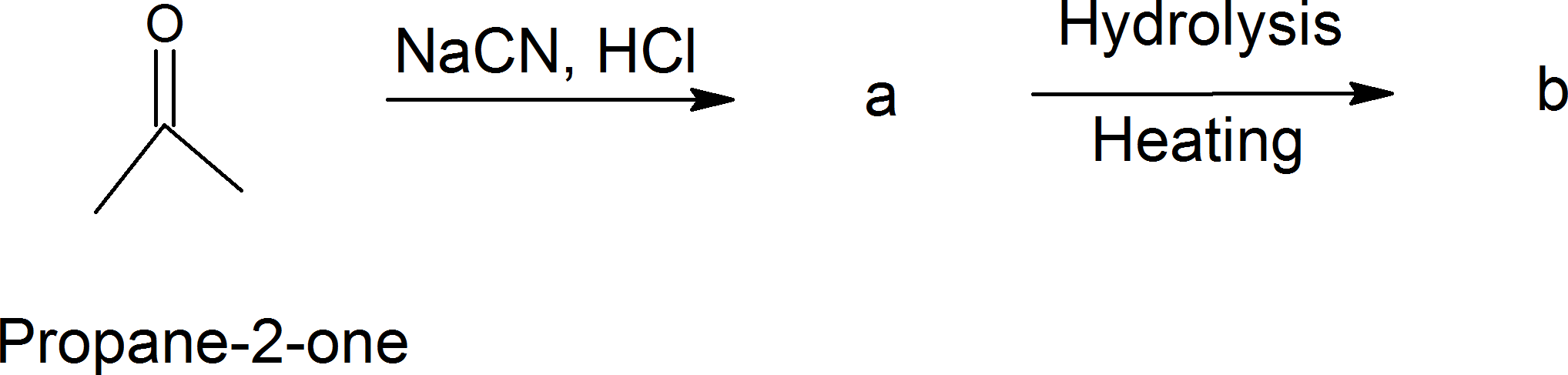 Propane – 2- One with sodium cyanide and hydrogen chloride