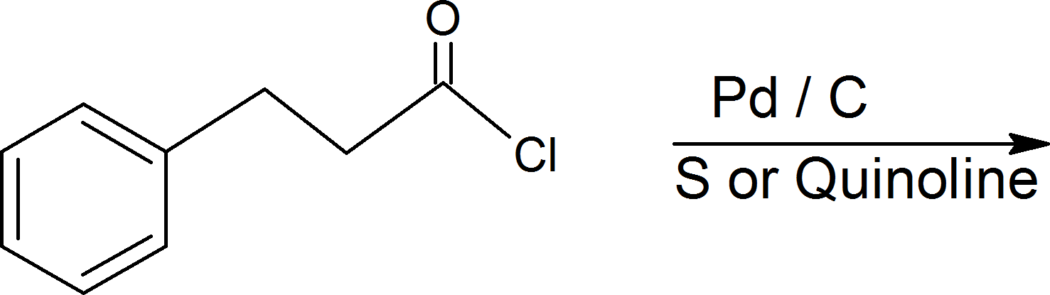 Reaction of catalytic hydrogenation of acid chlorides