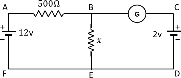 Circuit diagram with resistors, battery, and galvanometer.