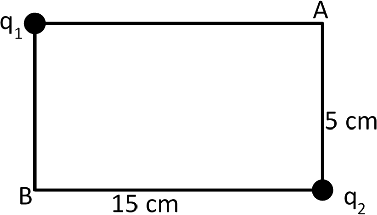 Rectangular figure with charges given
