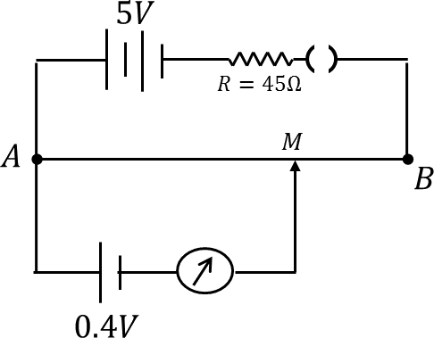 Circuit diagram of potentiometer with balance point M