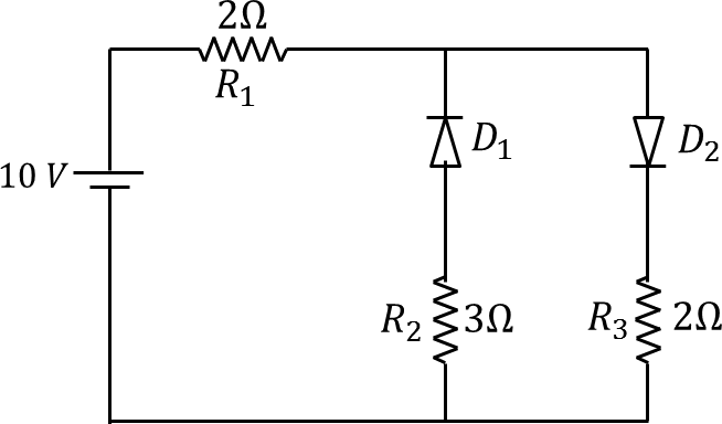 A circuit having two diodes