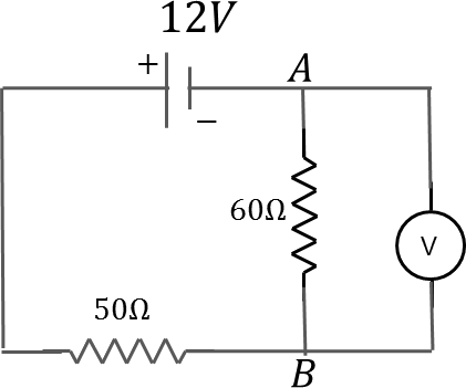diagram with 60Ω and 50Ω resistors, Voltmeter and battery.