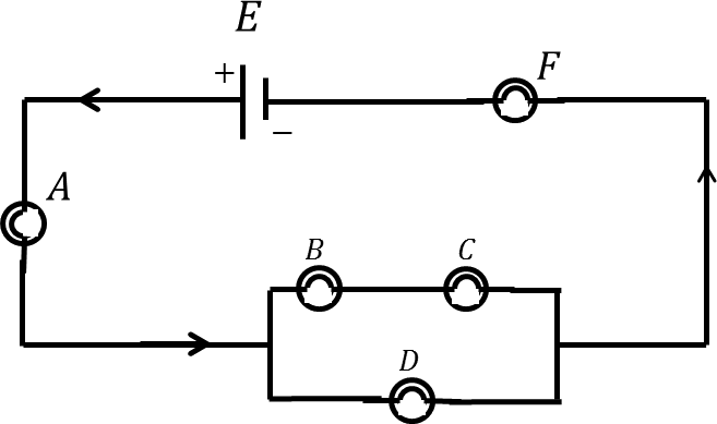 Circuit diagram with A, B, C, D and F bulbs.