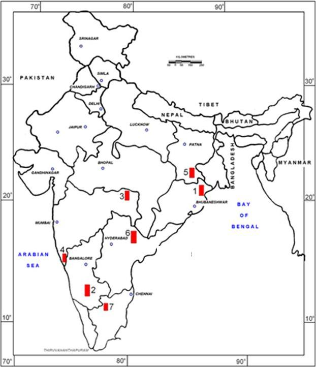 Explain the location of mineral on Map of India