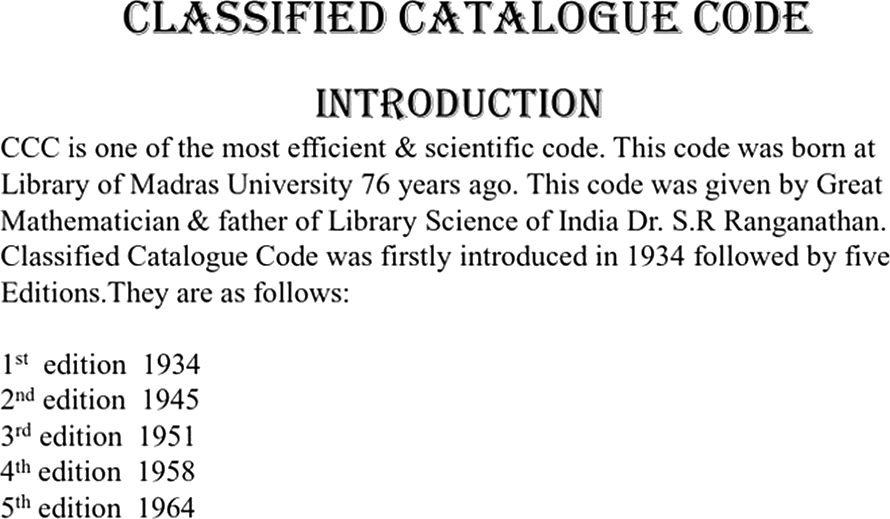 Image show in Classified Catalogue Code